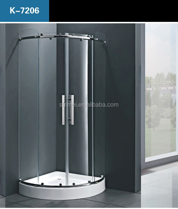 K-7317 Hotel Commercial Prefab Bathroom one person Portable Transparent Glass Shower Cabin With Shower Hinges