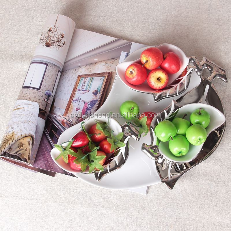 wholesale ceramic pear shaped dish plate set for dry fruit