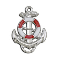 New Zinc Alloy Nautical Red And White Enamel Silver Lifebuoy Anchor Pendant