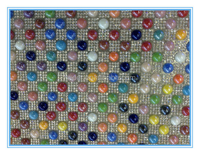 Hotfix Rhinestone Applique Colourful Pearl and Glass Chaton Sheet Mesh for Garment Accessories
