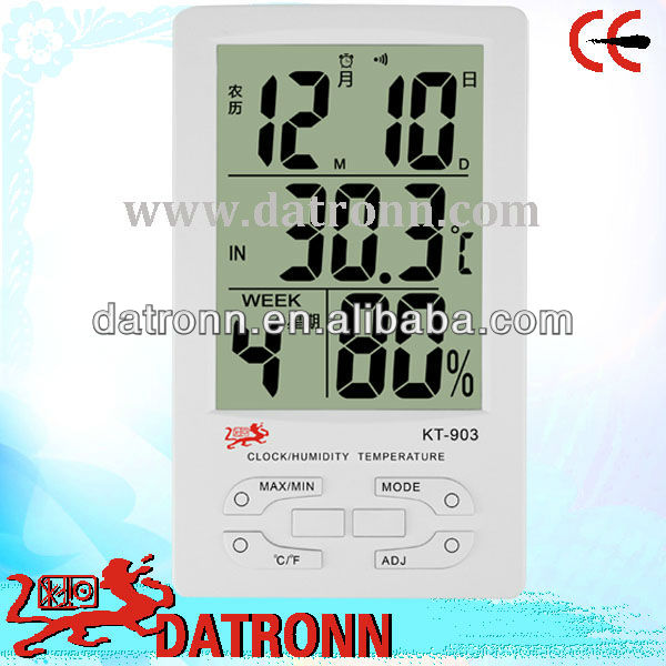 Digital thermometer and hygrometer KT903 for temperature, humidity and calendar