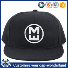 Custom fashion simple embroidery black snapback cap with 7 holes buckle