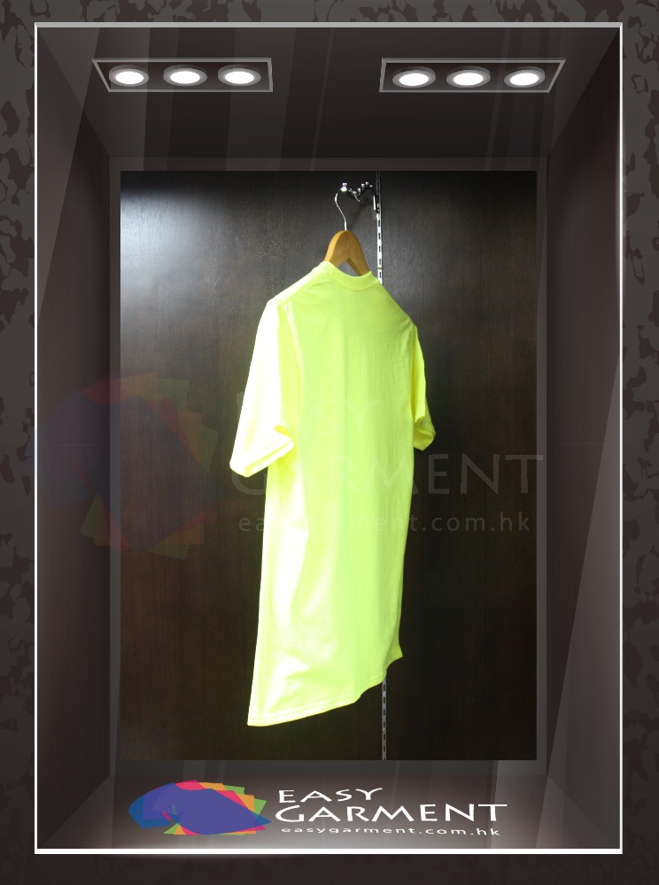 Customised Promotion Design O Neck 100% cotton Safety Green Short Sleeves men T-Shirt