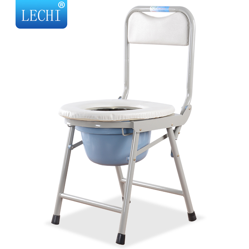Home care disability products aluminum alloy folding bathroom commode toilet chair for elderly people