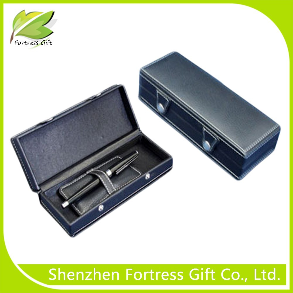 Elegant PU leather empty gift pens with pen cases/boxes/holders/displays