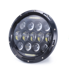 Newest 7inch 75w round led light head with Halo-Angel Eyes for jeep grand cherokee accessories