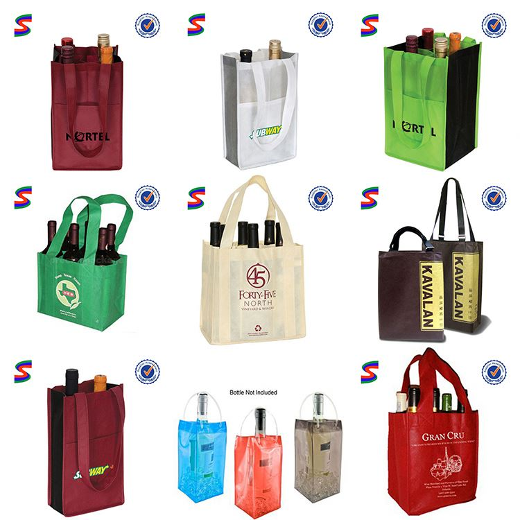 Pvc Ice Wine Bags 2 Bottle Wine Cooler Bag
