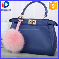 Handbag Charm Genuine Fur Ball Leather Pom Pom Keyring