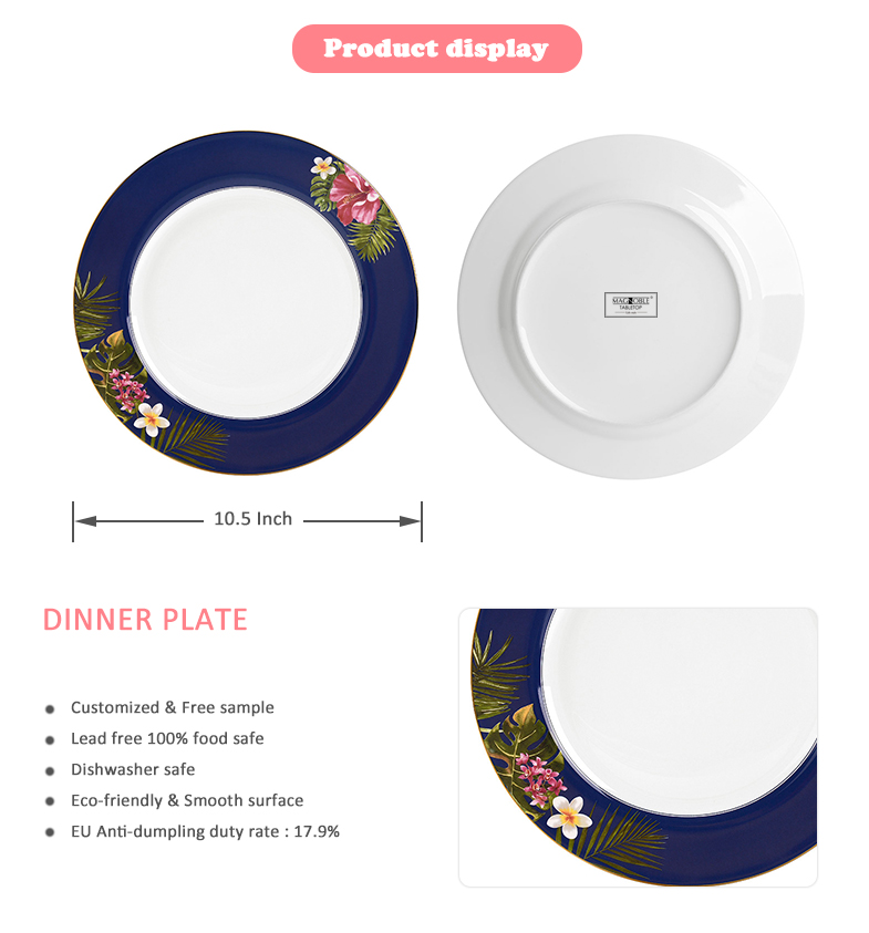 Eco- Friendly dining ceramics on-glazed personalized porcelain custom dinner plate