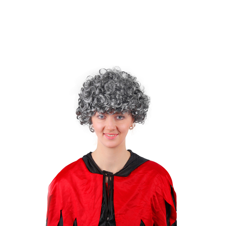 high quality short grey synthetic curly hair afro fashional party wig