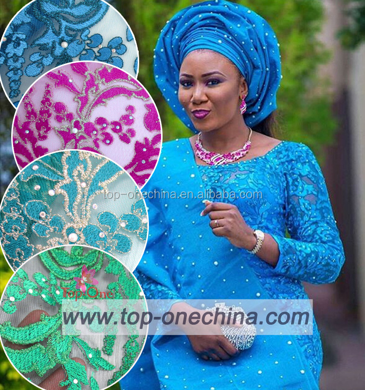 Wholesale tulle lace fabrics elegent African net lace for party asoebi style african embroidery stones lace fabrics
