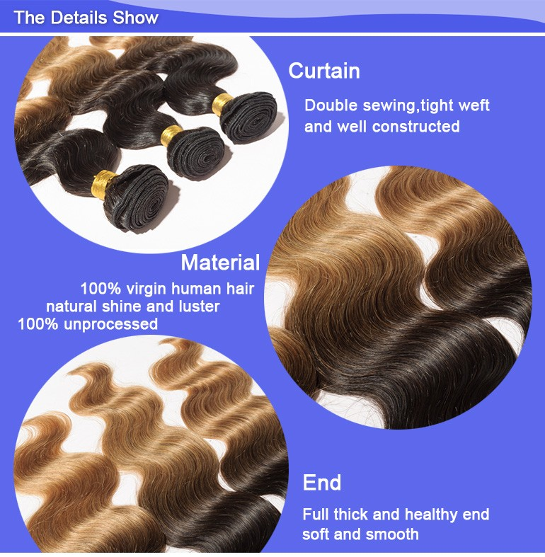 Fashionable 100% brazilian body wave ombre human hair bundles 1b/27