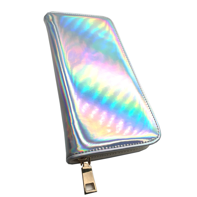 Women's Hologram Zipper Around Pu Leather Long Wallet Clutch Purse