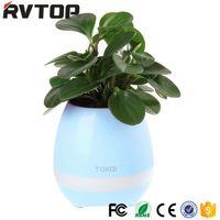 Wholesale Hotselling Plastic Bluetooth Speaker Smart Music Flower Pot with LED Night light