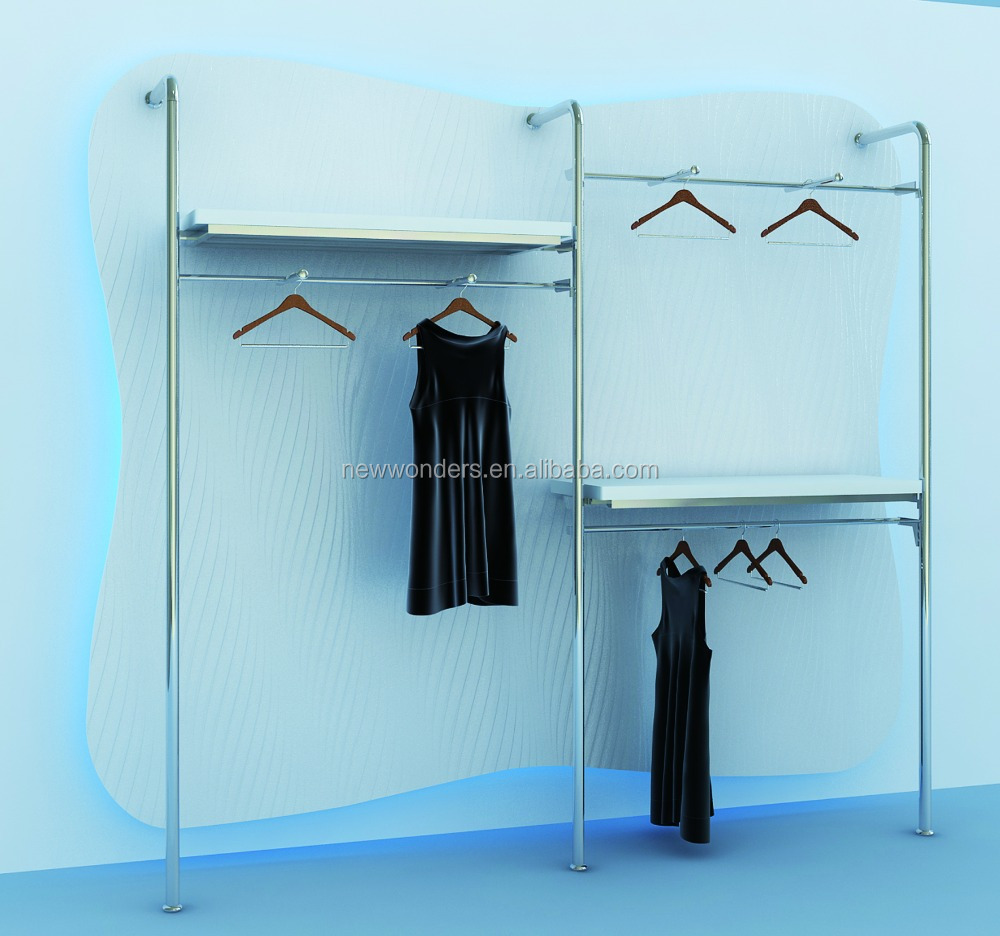 Modern metal hanging clothes Display rack with Wall mounted clothing display rack for women clothes shop display