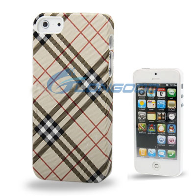 Hot sale fashion Grid pattern leather plastic back cover phone case for iphone5