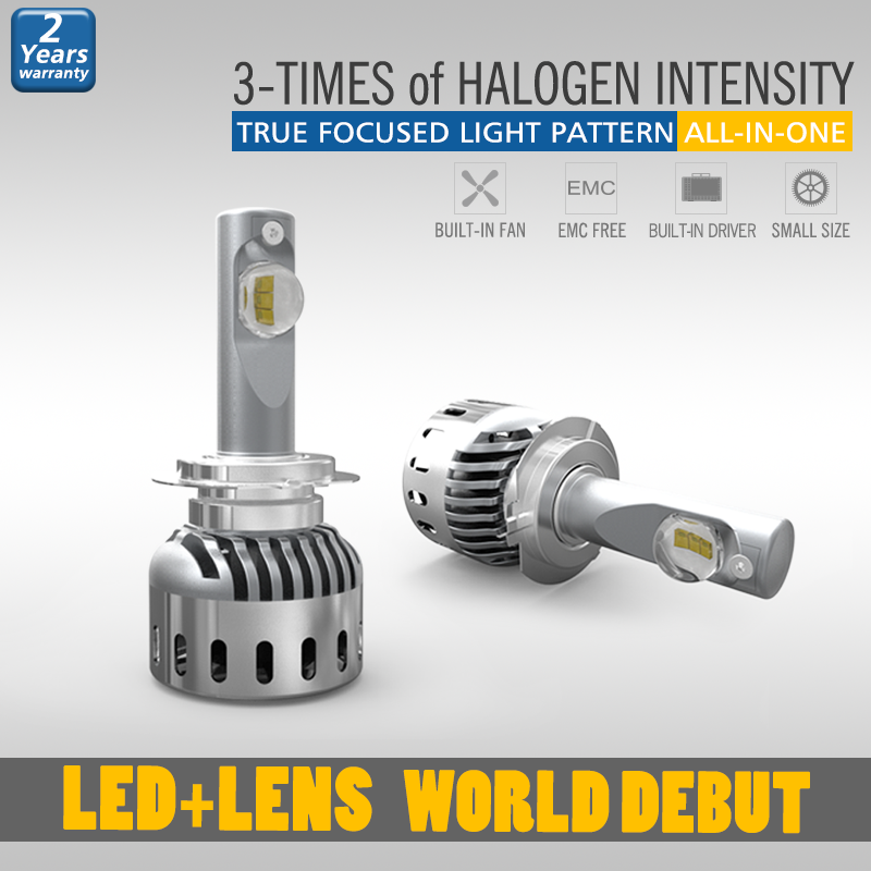 Made in China led headlamp bulbs h7 with unique lens