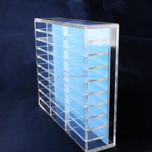 portable retail plastic plexi glass diamond chain bracelet display counter divided acrylic clear tabletop stackable jewelry tray