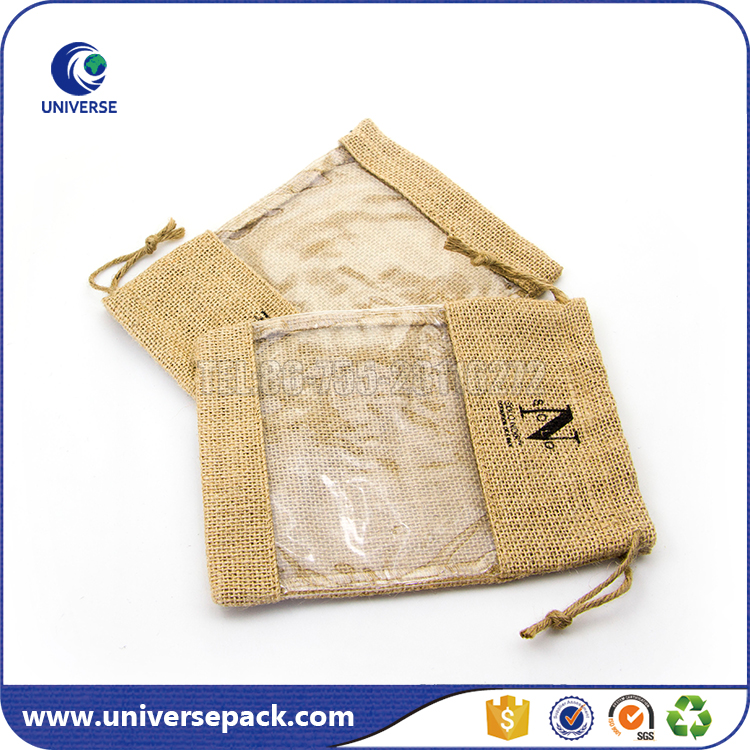 Recyclable Custom jute cosmetic bag with clear pvc window