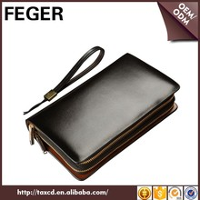 Wholesale men cow split leather clutch bag with double zippers