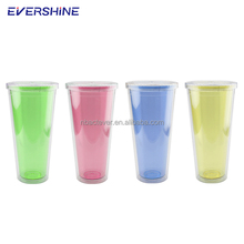 32oz plastic double wall drinking tumbler colorful mug sport party cup travel water bottle with straw lid