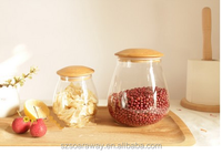 Mushroom shape glass jar with bamboo wooden gasket lid