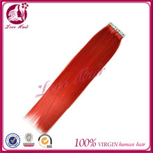 Supply charming style girls skin weft hair cutting styles 100% mink tape hair brazilian straight red hair vendors
