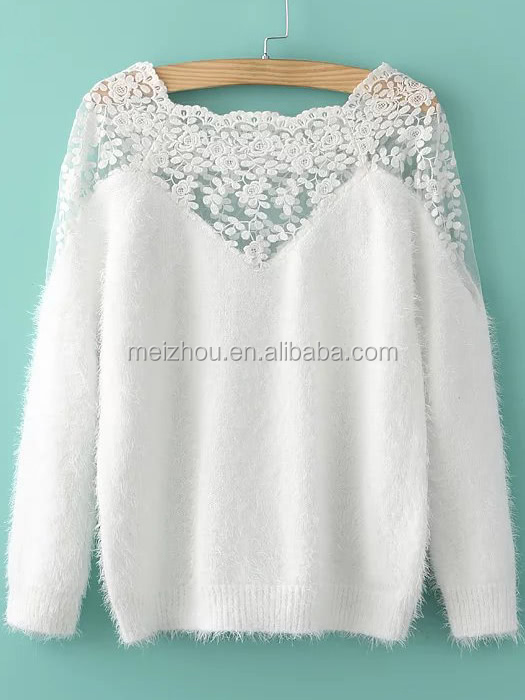 (LS0609) Lace Insert Boat Neck Mohair Sweater