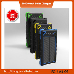 High quality portable solar charger 10000mah waterproof power bank with factory direct selling