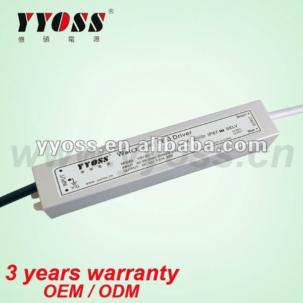 Waterproof 15W 24v dc regulated power supply 3 year warranty