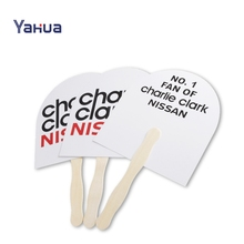 Fashion Portable Advertising Sublimation Paper Hand Fan With Wood Handle