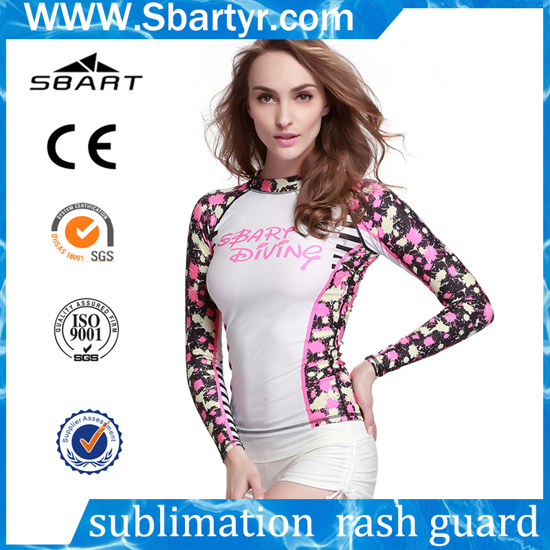 Manufacturer Wholesale long sleeve dry fit t shirt upf 50 Custom printed Design Your Own bjj women Rash Guard fabric
