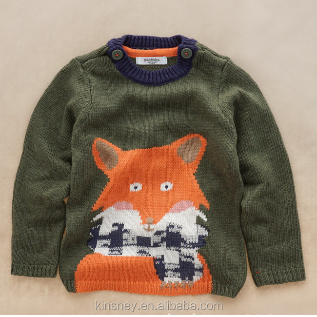 KS10144A Latest cute fox knitted soft wool blend baby boy sweater designs