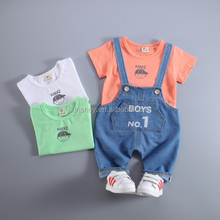 KS10030A 2016 Latest style boys summer clothing fashion bib pants and t-shirt sets