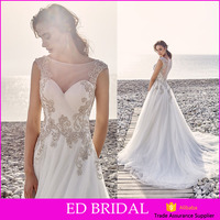 Designer Sheer Neckline Sleeveless Vestidos De A-line Tulle Crystal Beads Boho Wedding Dress