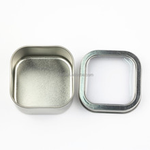 Eco-friendly plain empty square candle tin box with a window on lid