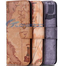 Leather Wallet Case With Card Slots & Holder Retro World Map Leather Cell Phone Case For iPhone 6