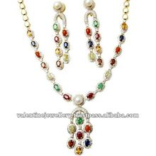 navratan necklace set with earrings, rashi stone necklace, precious gemstone jewelry