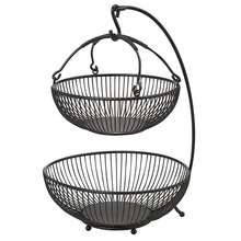 Wholesale Factory Price Free Stand Round Collapsible Adjustable 2 Tiers Hanging Metal Wire Fruit Basket