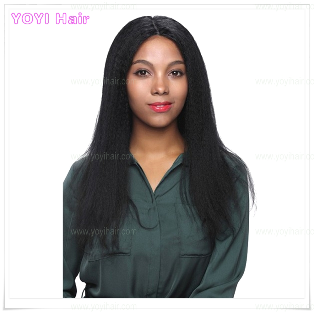 Natural Unprocessed full hand tied kinky straight peruvian hair wig
