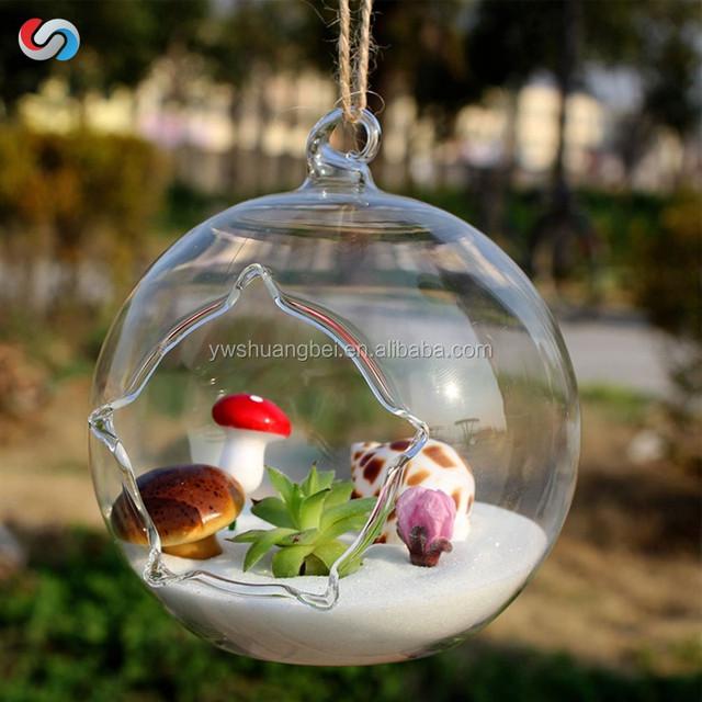 New Design unique hanging crystal glass flower vases, air plant glass terrarium for wedding decor