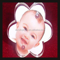 Flower Shaped Blank Acrylic Fridge Magnets Children Photo Picture Frame