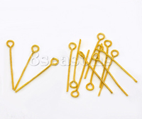 600PCs Gold Plated Eye Pins 24mm Findings