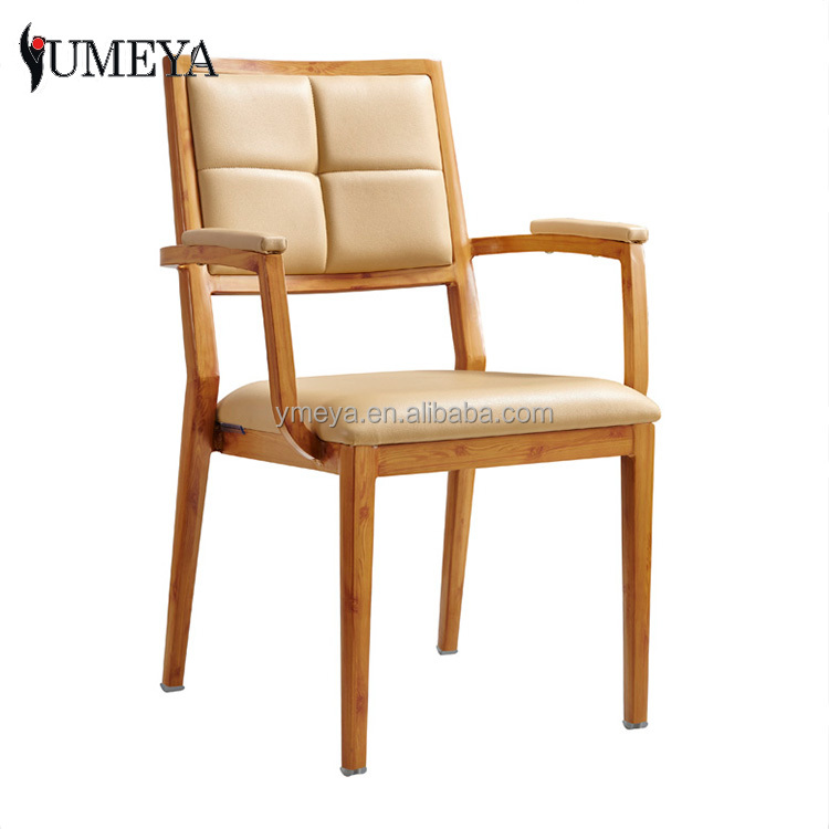 Factory supplier Imitation wooden chair aluminum stackable arm chair