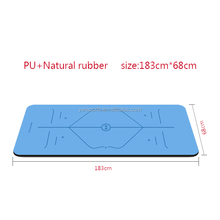 Customized printed position guide line Eco friendly PU natural rubber yoga mat