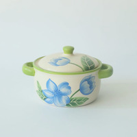 Eco-friendly Custom Flower Pattern Glazed Ceramic Soup Pot with Lid