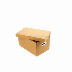 corrugated cardboard lid and base paper file storage box for bank office use