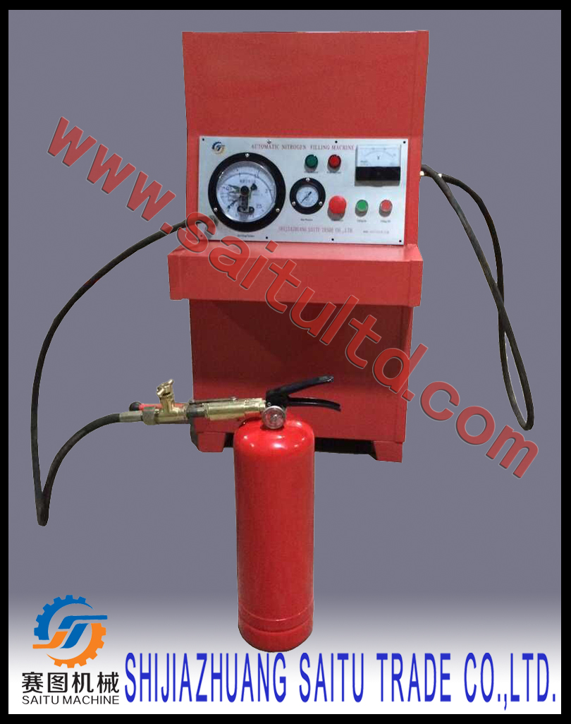 Nitrogen filling system for stored pressure fire extinguishers