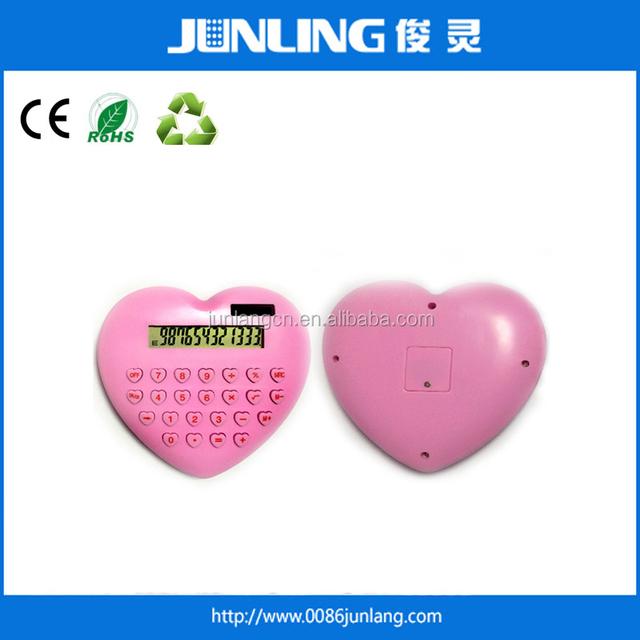 12 Digit Electronic calculator Heart Shape Promotional Gifts Calculator Dual Power
