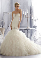 Free shipping sweetheart beaded customize wholesale 2014 cheap lace ruffled mermaid wedding dress CWFaw5812